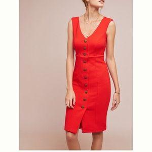 Anthropologie red buttondown dress
